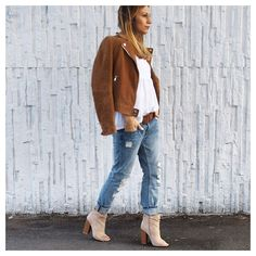 @boho_addict - Camel Leather Jacket - Open Toe Boots Missguided - Destroyed Boyfriend Denim