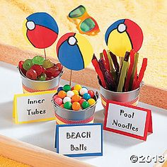"""pool party favors Pool Party Favors - Oriental Trading This could be fun for a last day of school """"beach"""" themed party! Pool Party Favors, Pool Party Kids, Beach Party Ideas For Kids, Pool Party Snacks, Pool Party Themes, Food For Pool Party, Beach Themed Snacks, Party Candy, Pool Party Centerpieces"""