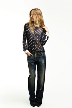 i like the contrast of the dressy top with white cuffs and the casual denim