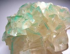 Calcite included by Dioptase from Tsumeb, Namibia