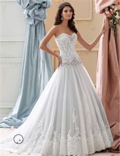 David Tutera Blue wedding dress, strapless corded lace applique & tulle over memory taffeta ball gown wedding dress, sweetheart neckline & back bodice trimmed w/ hand-beaded jeweled motif, corded lace Mon Cheri Wedding Dresses, Disney Wedding Dresses, Lace Wedding Dress, Stunning Wedding Dresses, Blue Wedding Dresses, Perfect Wedding Dress, Bridal Dresses, Wedding Gowns, Dress Lace