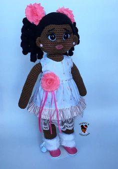18 inch African American Crochet Doll Handmade doll crochet doll amigurimi do Knit Or Crochet, Crochet Toys, Crochet Baby, African Dolls, African American Dolls, Doll Toys, Baby Dolls, Crazy Loom, Crochet Dolls Free Patterns