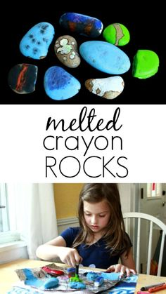 How to Make Melted Crayon Rocks with Kids - heat rocks in 350 F oven to heat up, then paint with wax based crayons.
