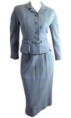 vintage Heathered Blue Wool Nipped Waist w/ Bow 1960s Suit by DorotheasCloset