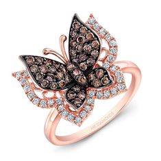 14k Rose and Black Gold Brown Diamond Butterfly Ring  - 14k Rose and Black Gold…