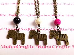 Little Zebra and Bead Charm Necklace by bubucraftie on Etsy, $7.00