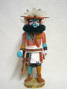 Antique Native American Hopi Carved Snow Dancer Katsina Doll by Earl Yowytewa