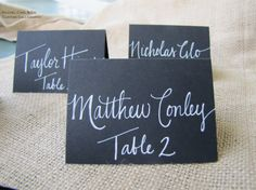 Wedding Black Name Place Cards Escort Cards Table by RachelCarl,