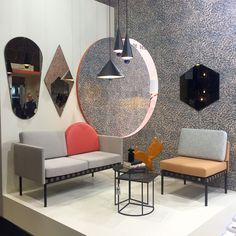 mirrors by Constance Guisset, wallpaper by Tiphaine de Bodman and Shelley Steer, armchairs by Morten & Jonas, and bubble table lamps by Studio Vit