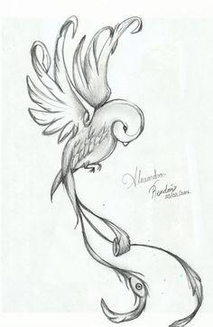 dibujo de canario místico a lápiz