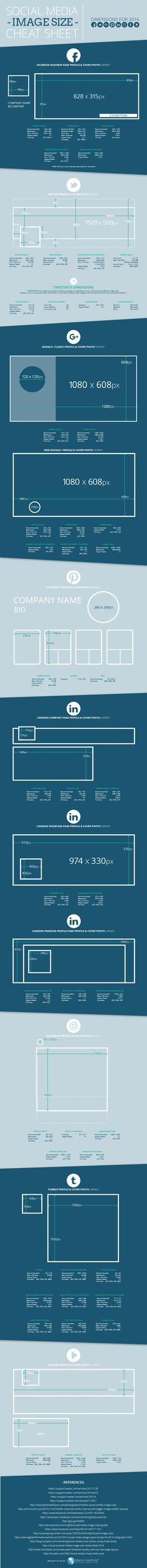 Social Media Image Cheat Sheet (updated August 2016)