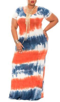 080ec31221 New WearLove Women s Plus Size Color Block Tie Dye Stripes Boho Summer  Beach Long Maxi Dresses online.