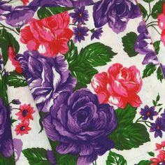 Vintage 60's Flowers Print Fabric 2 yards by Selvedge on Etsy