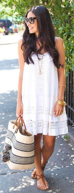 Women's fashion   Boho little white dress, flats, handbag, accessories