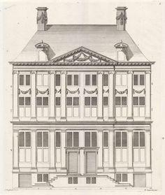 Gevel van een dubbelwoonhuis aan de Oudezijds Voorburgwal te Amsterdam, Bastiaen Stopendael, 1674