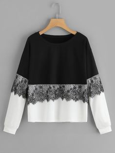 Contrast Lace Colorblock Black White Sweatshirt Pullover 2019 Long Sleeve Tops Casual Sweatshirts Black and White XL Mode Outfits, Fashion Outfits, Fall Fashion, Grunge Outfits, Fashion Styles, Fashion Brands, Tokyo Street Fashion, Lace Sweatshirt, Grunge Style
