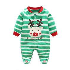 Babe Maps Green Stripes Printed Blanket Sleeper Pajamas