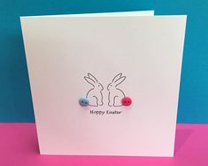 Hoppy Osterhase - Ostern - süße Ostern Hase Karte - Knopf Tails - - Papier handgemachte Grußkarte - Etsy UK