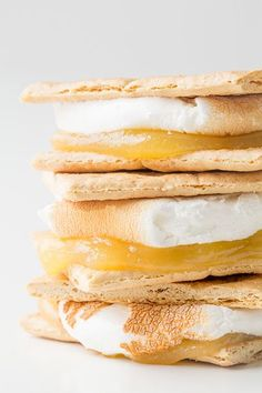 Lemon Meringue Pie S'mores - Instead of using chocolate in your next S'more, try a dollop of either homemade or store bought lemon curd (lemon pie filling)