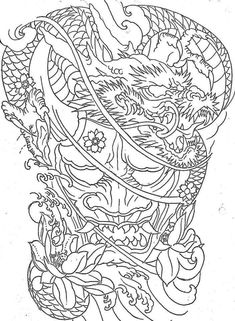 Japanese Demon Tattoo, Japanese Back Tattoo, Japanese Tattoo Designs, Japanese Sleeve Tattoos, Dragon Tattoo Outline, Dragon Tattoo Colour, Dragon Sleeve Tattoos, Neck Tattoos, Maori Tattoos