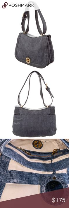 0e2d689dc7 Tory Burch Tory Turn-lock Logo Flap Textured Bag Leather with the look of  linen