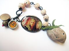 Always Forever. Rustic Pink Assemblage Bracelet Velvet Strawberry Ceramic Art Beads Resin Pendant.