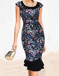 2015 New Women Elegant Vintage Print Puff Sleeve Peter Pan Collar Button Mermaid Party Dress S-XXL