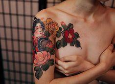 beautiful tattoo bijinga with tsubaki ,flowers ,rose ,peonie - Jinpil Yuu Tattooer in Seoul, Korea Placement Dream Tattoos, Future Tattoos, All Tattoos, Flower Tattoos, Body Art Tattoos, Tattoos For Women, Tatto Ink, Tatoo Art, I Tattoo