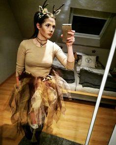 Reh Kostüm Frauen Bambi Geweih Tüll Selfmade Stulpen Karneval Fasching Kostümidee
