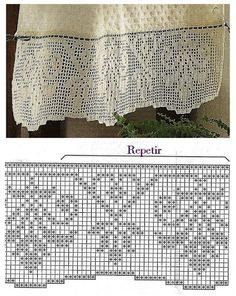 beautiful stylized flower border in filet crochet