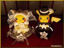 CUSTOM CRAFTED POKEMON WEDDING PIKACHU BRIDE GROOM CAKE TOPPER AMIIBO