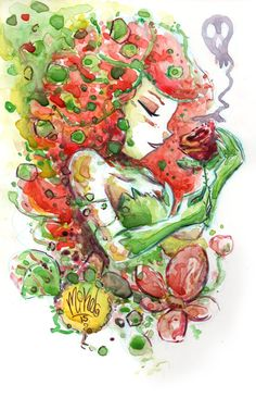Watercolor: Poison Ivy by mikemaihack on DeviantArt