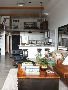 111 | Industrial Loft | Small Space | Studio Apartment | Interior Design Wood beams against white!