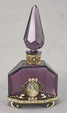 Austrian Jeweled perfume bottle, art deco styled, deep luminous purple