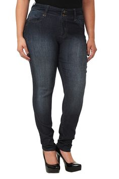 Internet exclusive! Zipper-accented back pockets and sandblasted thighs are standout features on these super curvy skinny jeans. They're shaped through the hips for a gape-free fit that really flatters the figure.