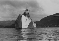 German battleship Tirpitz during a stop in one of the Norwegian fjords.