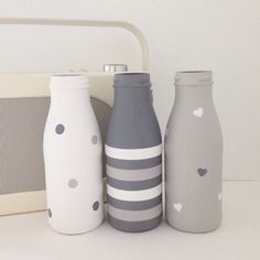 Set of three hand painted mini milk bottles Diy Wine Bottle Crafts diy crafts for mini wine bottles Diy Bottle, Wine Bottle Crafts, Jar Crafts, Bottle Art, Mini Milk Bottles, Wine Bottles, Starbucks Bottles, Starbucks Glass Bottle Crafts, Painted Glass Bottles