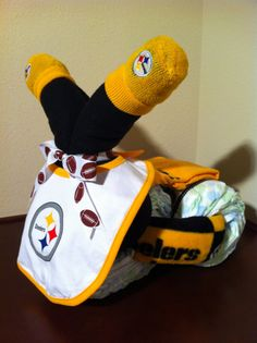 Diaper Tricycle/Pittsburgh Steelers by KeepsakeCakes on Etsy, $75.00