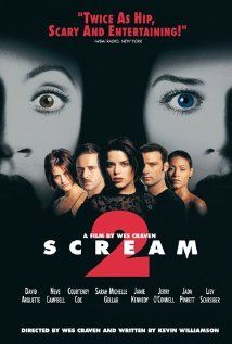 Scream 2 (1997), Dimension Films with Neve Campbell, Courteney Cox, David Arquette, and Jamie Kennedy.