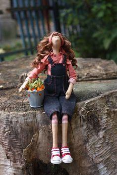Купить Тильда садовница. Кукла текстильная интерьерная. - тильда, тильда кукла, кукла ручной работы