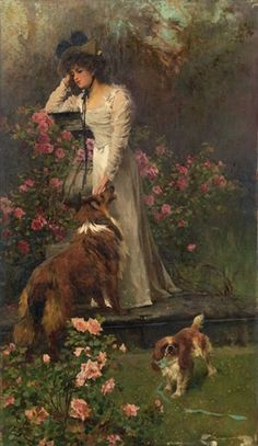 The time of the roses by Arthur Wardle Collie Image Nature, Rough Collie, Wow Art, Victorian Art, Vintage Artwork, Animal Paintings, Beautiful Paintings, Female Art, Art Drawings