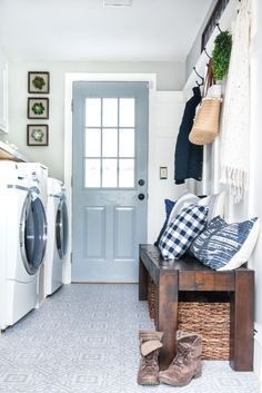 This DIY laundry room makeover takes a small space and completely transforms it . This DIY laundry room makeover takes a small space and completely transforms it into an organized a Small Laundry Rooms, Laundry Room Organization, Laundry Room Design, Small Rooms, Storage Organization, Laundry Storage, Small Spaces, Laundry Sorter, Laundry Area