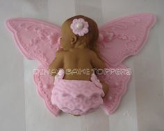 BUTTERFLY  Cake Topper Baby Shower First Birthday FONDANT  Baptism Christening favors decorations