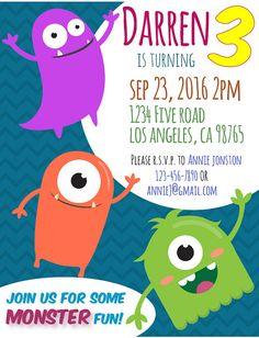 Monster Birthday Invitation  Party   #Monster #BirthdayInvitation #KidBirthday #ChildBirthday #Invitation #Etsy #MonsterBirthday
