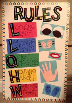 Elementary Classroom Rules Board...use potato head parts with words for a display