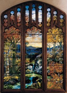 waterfall mountain & trees stained glass art