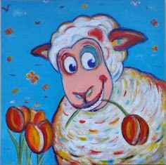 Vrolijk schilderij - blij schaap