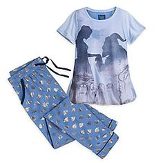 Beauty and the Beast Pajama Set for Women - Live Action Film | Disney Store Bring your own dreams to life with this <i>Beauty and the Beast</i> Pajama Set inspired by Disney's live-action retelling of the beloved tale. The short sleeve top comes with coordinating bottoms featuring allover gold foil print.