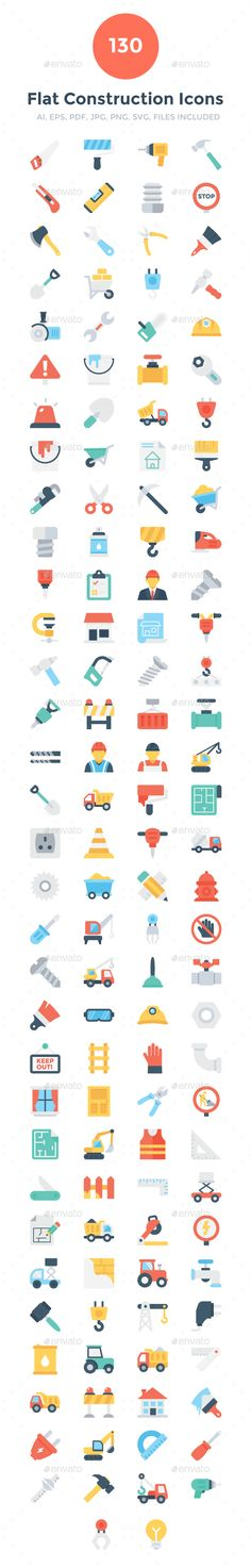 130 Flat Construction Icons — Vector EPS #Civil Engineer #worker • Download ➝ https://graphicriver.net/item/130-flat-construction-icons/19214804?ref=pxcr