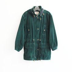 Vtg hunter green jacket  corduroy  anorak  hood  by CaesarPony, $75.00